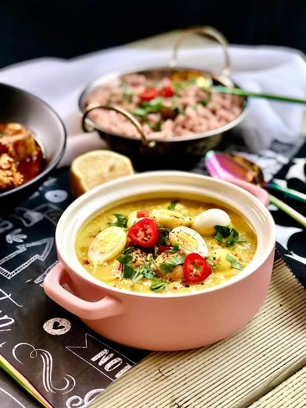 Red Lentil Dhal With Coconut Milk And Quail Eggs Recipe