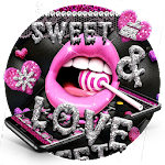 Glitter Pink Lips Sweet Love Theme Icon