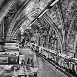 Bookstore In A Church by Marco Bertamé - Black & White Buildings & Architecture ( books, leading lines, church, bookstore, arcade )