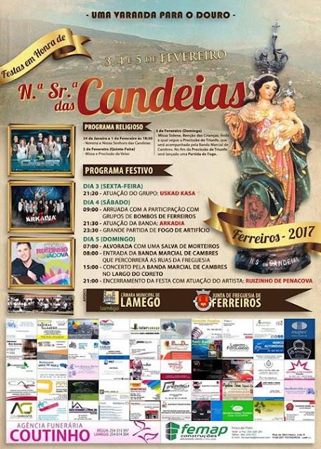 Programa - Festas em Honra de N.ª Sr.ª das Candeias - Ferreiros - 3 a 5 de fevereiro - 2017