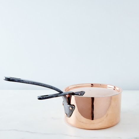 Vintage Copper French Saucepan with Lid, Late 19th Century