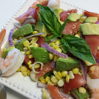 Avocado, Tomato, Corn & Shrimp Salad with Basil Vinaigrette