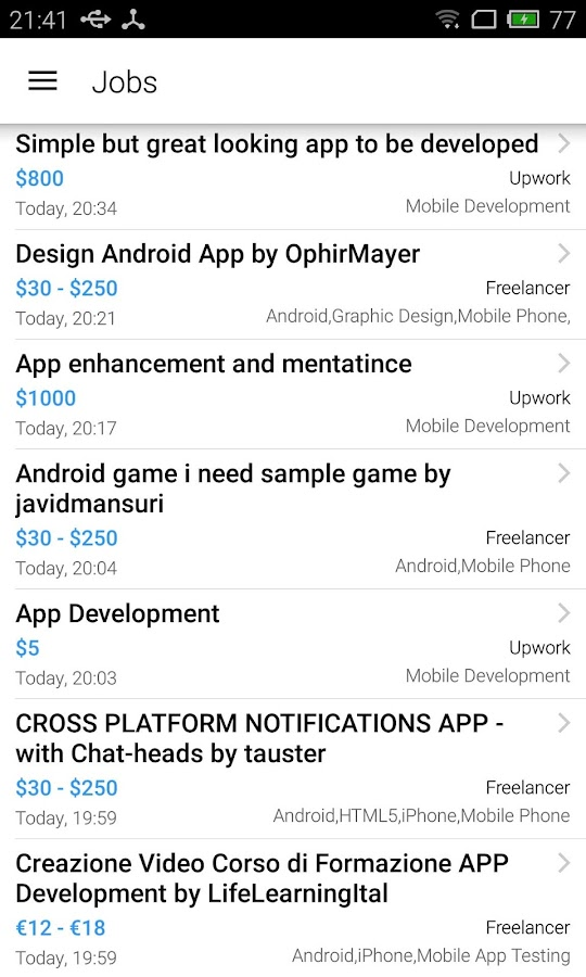 Mobile Freelance Job- screenshot