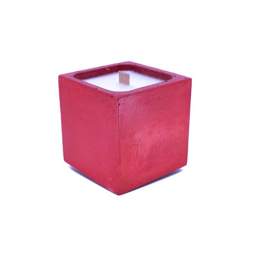bougie béton rouge parfum fleur d'oranger