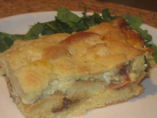 Caramalized Onion, Bacon, Cheese, And Kale Strata