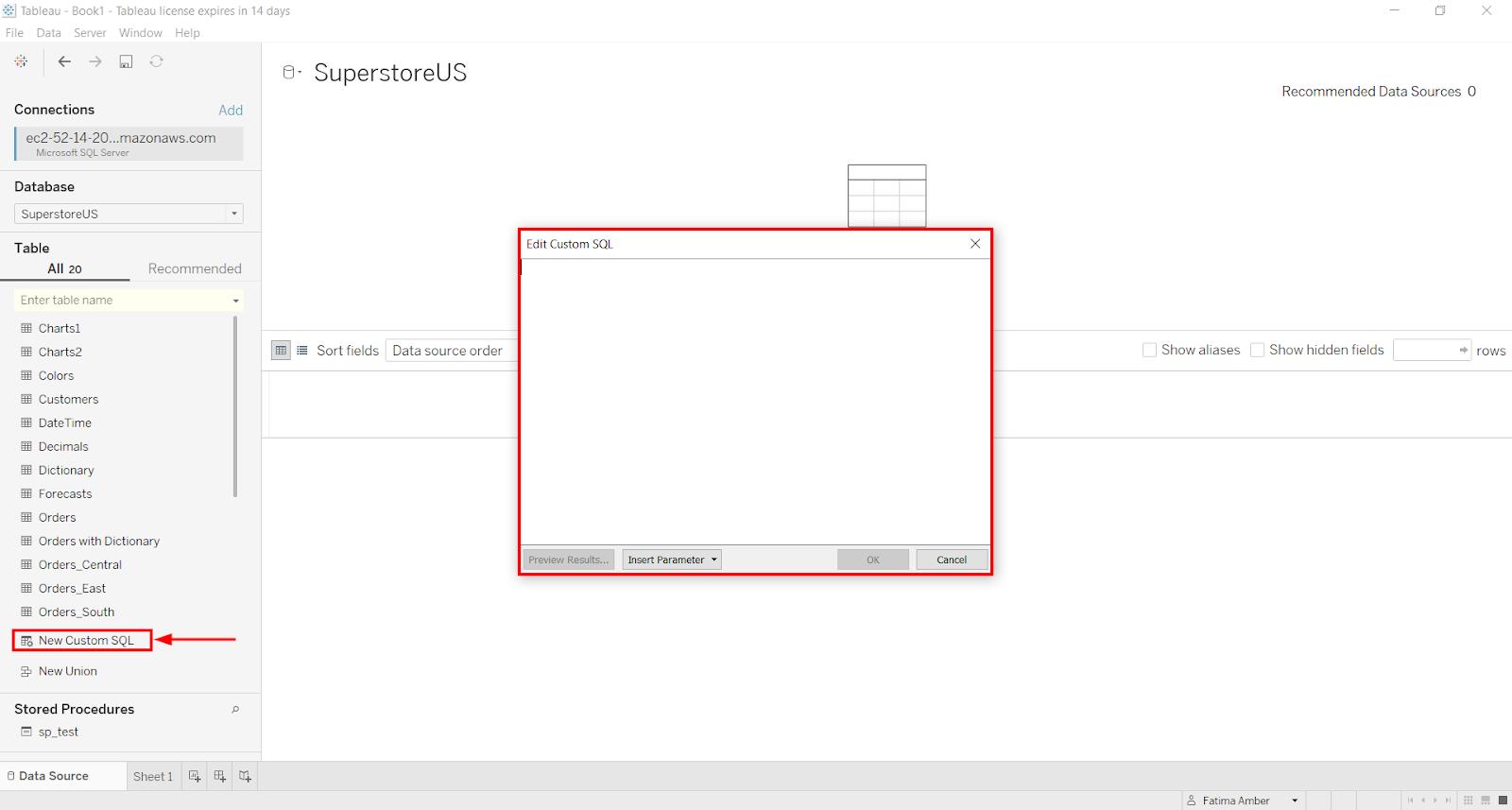 Edit Custom SQL in Tableau dialog box