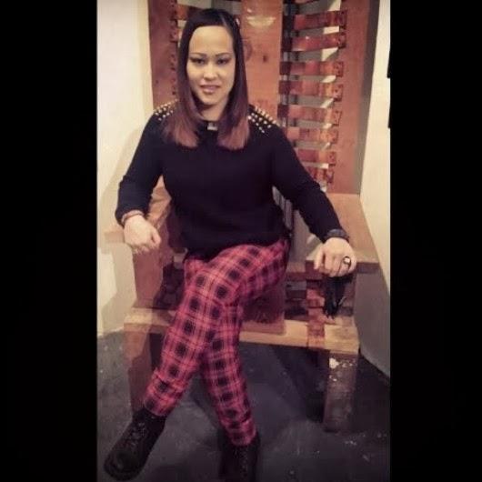 Photo: Me on the wooden chair at #BoshinGallery. #tartan #plaid #woodenchair #plaidpants #tartanpants #sweater #platformshoes #chair