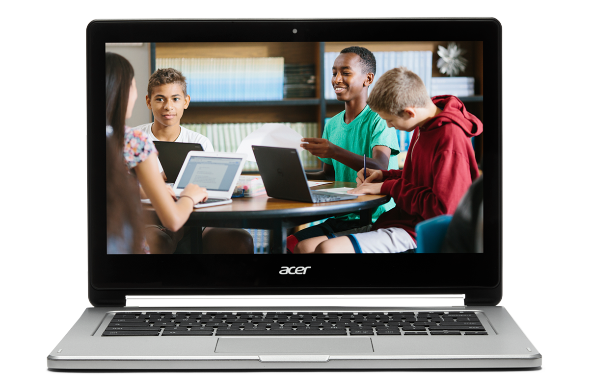 If collaboration becomes second nature You Chromebook. Image of a Chromebook showing kids working on chromebooks around a table.