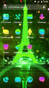 Tema Neon Green Eiffel Tower-APUS Launcher