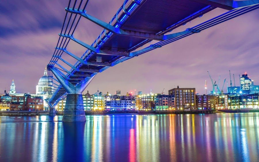Millenium Bridge London by Jon Raffoul - Buildings & Architecture Bridges & Suspended Structures ( illuminated, st pauls, night photography, london, night shot, millenium bridge, nightscape, , serenity, blue, mood, factory, charity, autism, light, awareness, lighting, bulbs, LIUB, april 2nd, mood factory, color, moods, colorful, mood-lites )