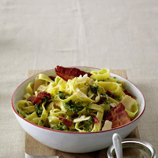 Kale Pesto and Bacon Tagliatelle