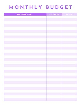 Monthly Budget - Budget Planner item