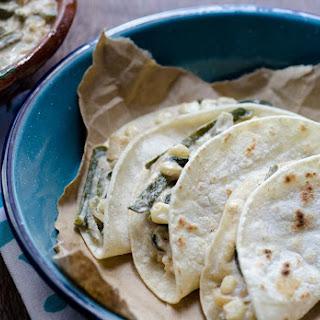Vegan Rajas con Crema Tacos.