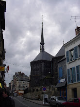 Photo: Our first view of L'Eglise Sainte-Catherine, a rare example of all wooden church construction. After the Hundred Years War, all stonemasons and architects were engaged in larger reconstruction projects, and so the church was built by the local shipwrights in thanksgiving for the departure of the English.