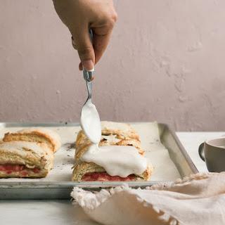 Rhubarb Scone Sandwiches with Vanilla Bean Glaze.