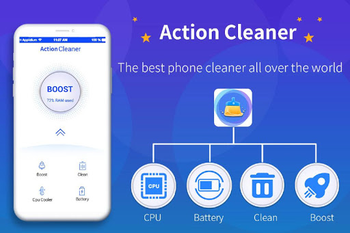 Action Cleaner-Cache Clean, Phone Booster Master screenshot 1