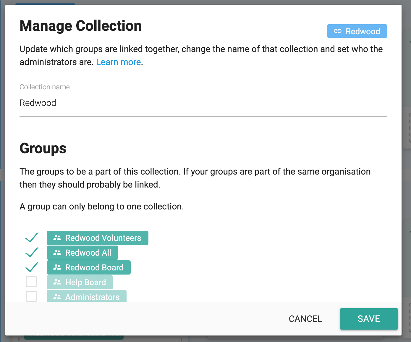 Manage a collection of groups