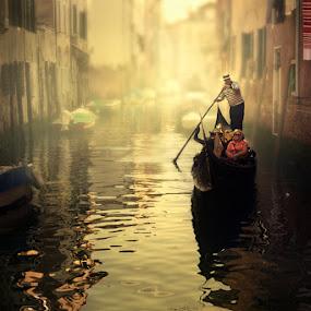 Strolling Venice by CrisTina Ramos - City,  Street & Park  Historic Districts ( fantasy, dreamy, oneiric, sunset, venice, mood, atmosphere, light )