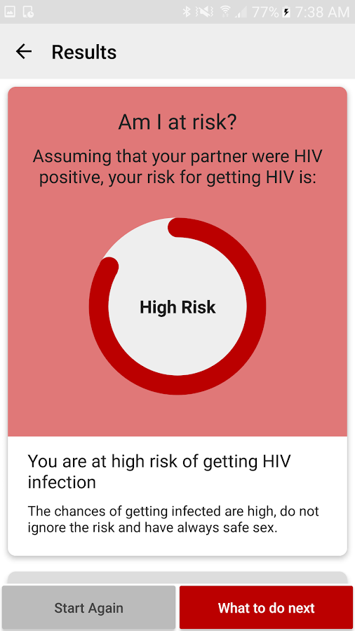 HIV RISK Calculator- screenshot