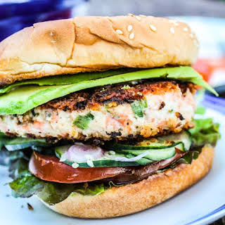 Asian Salmon Burgers with Wasabi Mayonnaise.