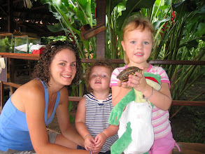 Photo: Playing with a wild turtle and our friend Lindsey at Mawamba