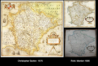 """Photo: Early 'County' maps of Devon  The Saxton (left, not owned) appears to be the earliest such map, dating to 1575, and is based on an actual survey of the county; it was part of a series of Westcountry county maps.  Other than Donn's (see next image), until the Ordnance Survey in 1809, all Devon county maps published were based on this survey.  The Morden (right) was published in the 1695 edition of Camden's 'Britannia'. The map at the top (not owned) is an original from this edition. The map at the bottom is a reproduction I have - date unknown. A facsimile of the 1695 Britannia was published by David & Charles in 1971. The original Britannia was published in 1610 (in English, at least - the first, Latin edition dates to 1586), and """"...was the first great text describing the British nation, its antiquities and culture""""."""