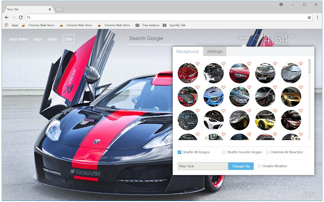 Custom Super Cars New Tab Themes