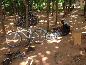 Photo: Akapo with 20 bikes for health workers