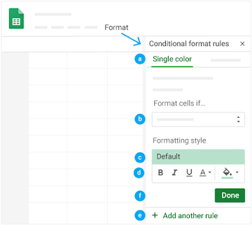 In the menu, under Format, find the conditional formatting rules