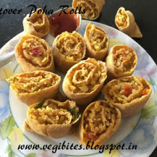 Leftover Poha Rolls step by step instructions.