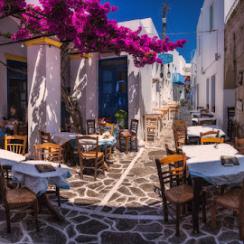 The streets of Milos Island by Krasimir Lazarov - City,  Street & Park  Street Scenes ( greece, street scene, island, street, restaurant, buildings, architecture )