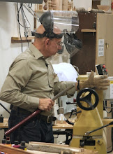 Photo: To show how that's done, Mike breaks out his turning tools: a face shield, a spindle roughing gouge, and a heavy glove.