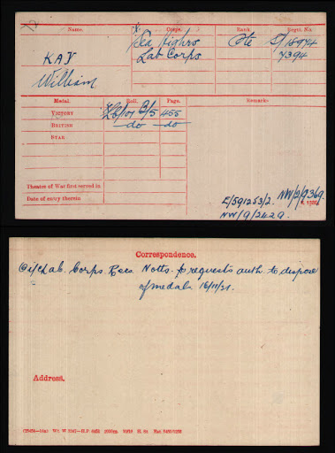 William Kay's Medal Index Card