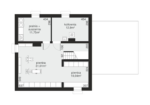 Dom przy Cyprysowej 47 - Rzut piwnicy