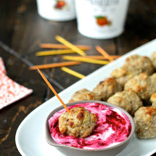 Pumpkin Spice Meatballs with Orange & Ginger Cranberry Sauce.