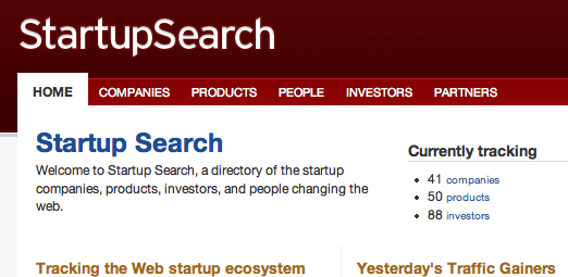 Startup Search screenshot