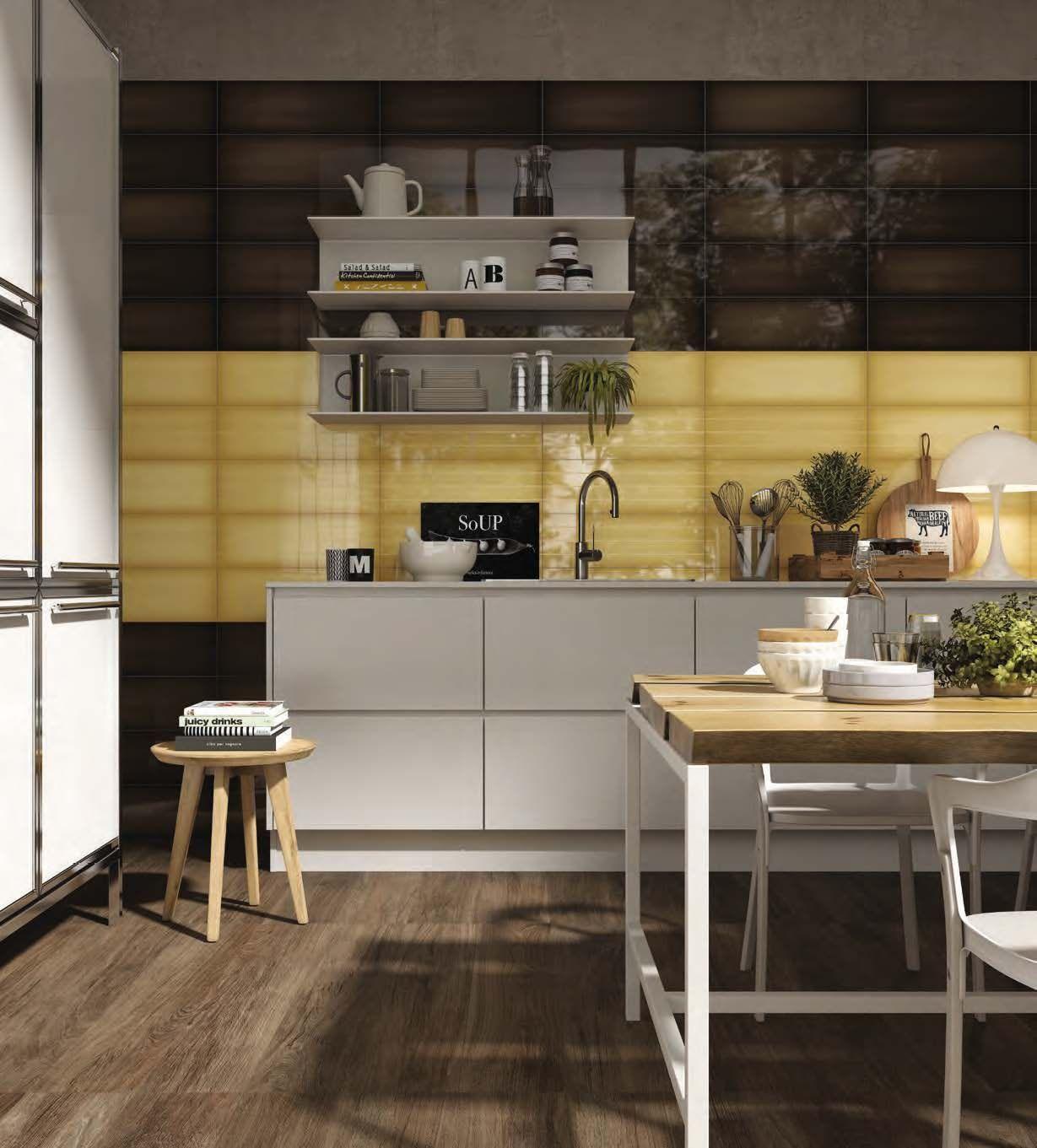 Brown and yellow tile kitchen backsplash