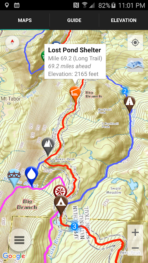 Guthook's Long Trail Guide- screenshot
