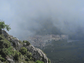 Photo: ... look back at Sainte-Agnes in the mist ...