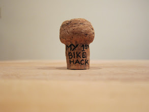 Photo: Step one: open the bottles, throw away the bubbly, keep the corks. I like to inscribe the occasion on the corks and keep them as mementos.