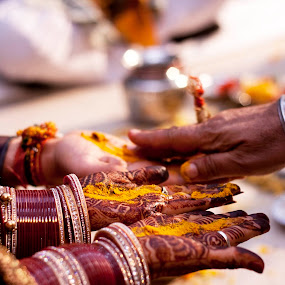 Moments by Anurag Bhateja - Wedding Ceremony ( pandit, haldi, wedding, india, bride, groom, turmeric )