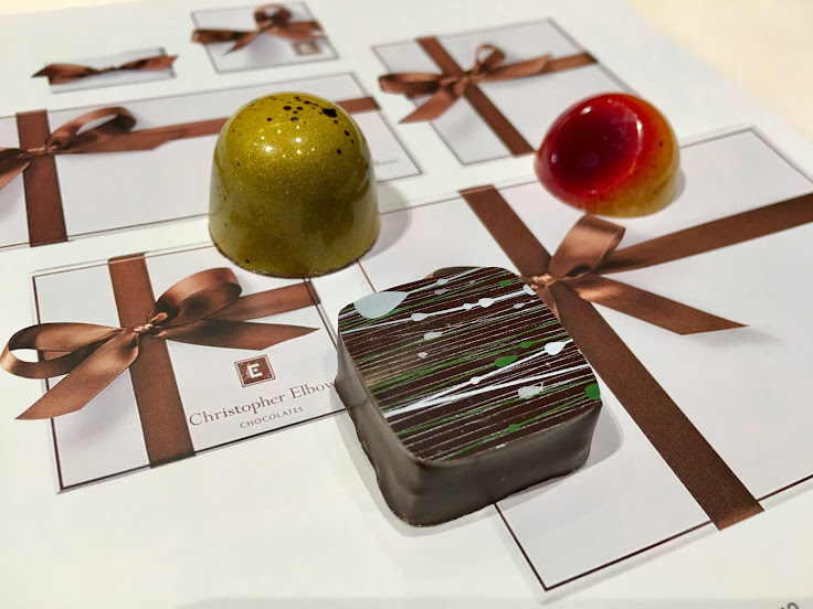 Chocolates from Christopher Elbow.  Left to right: bananas foster, mint chocolate, passionfruit.