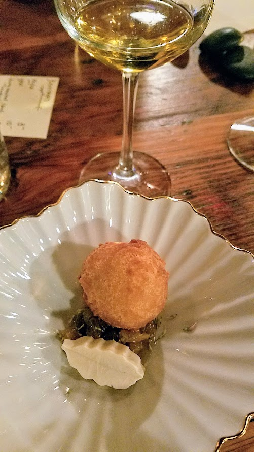 Fimbul PDX, an Icelandic pop up restaurant, course of love ball (ástarpungar), dandelion, buttermilk, paired with Johan Vineyards Noble Chardonnay 2013 from Willamette Valley OR