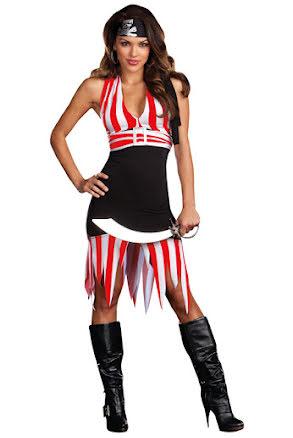 Dräkt, Piratklänning vit/rödrandig