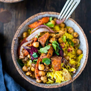 Turmeric Rice Bowl with Garam Masala Root Vegetables & Chickpeas.
