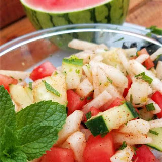 Crunchy Watermelon Jicama & Cucumber Salad.