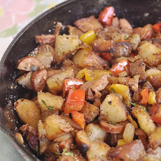 Skillet Potatoes with Peppers, Onions and Sausage.