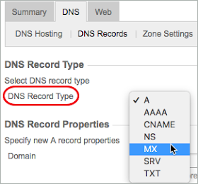 A red circle highlights the DNS Records Type list and MX is selected from the list.