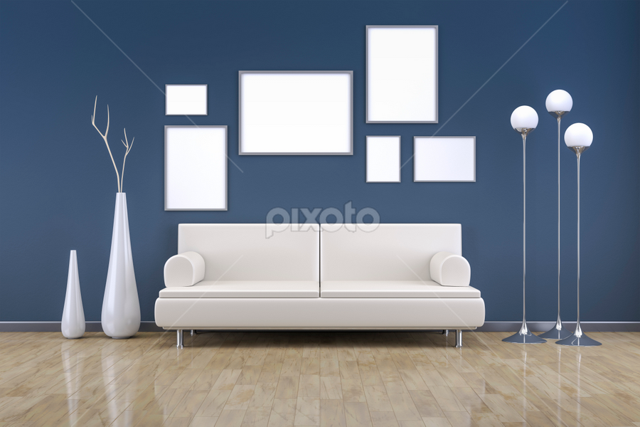 blue room with a sofa by Markus Gann - Illustration Buildings ( interior, home, nobody, single, indoor, wood, relax, apartment, study, architecture, furniture, space, six, comfortable, modern, sofa, style, seat, stylish, loft, lounge, grey, exhibition, light, leather, vase, decoration, elegance, minimalism, art, divan, white, front, living, gray, picture, luxury, couch, floor, frames, blue, comfort, contemporary, horizontal, background, brown, wall, design, room )