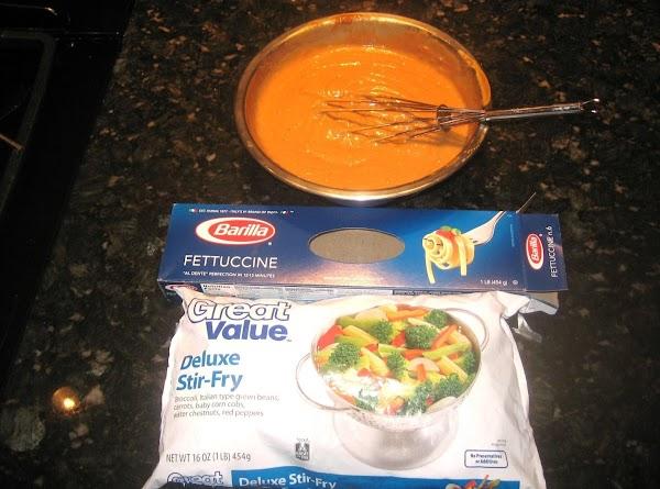 In a medium bowl, pour entire bottle of sesame dressing & peanut butter; mix...
